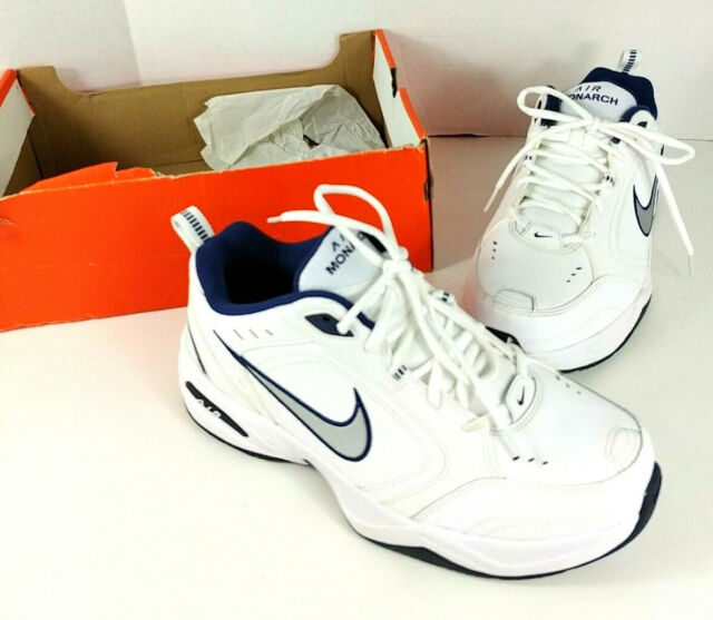 Nike Air Monarch IV Mens Training Running Wide Shoes White Silver 4E Width EEEE