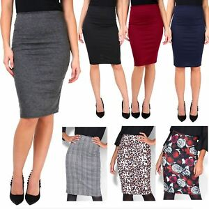 Womens-Ladies-Pencil-Midi-Skirt-Stretch-Fitted-Belt-Bodycon-Office-Work-8-20