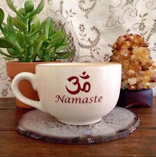 Namaste Om Symbol Ceramic Cappuccino Cup Mug Coffee Bar Yoga Gift Idea
