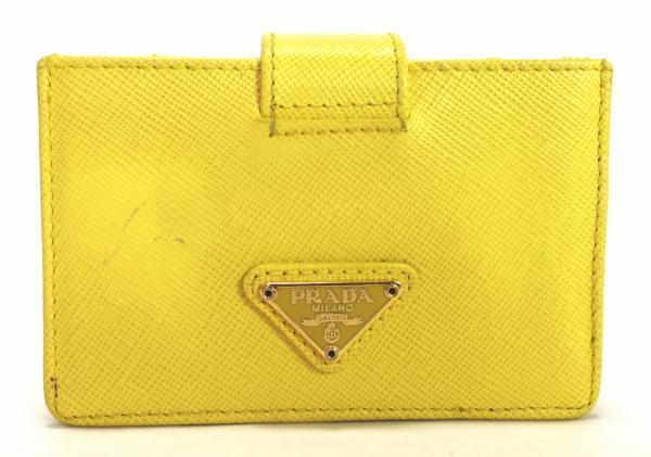 Authentic PRADA Saffiano Leather Card Case Yellow Card Holder Men Women