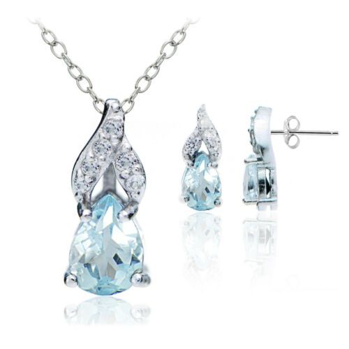 Sterling Silver bleu et blanc Topaze Swirl Teardrop collier boucles d/'oreilles Set