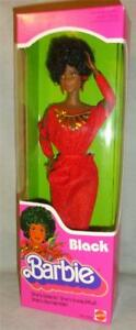 VINTAGE-1979-FIRST-Black-Barbie-Doll-Disco-Afro-Red-Dress-Mattel-1293-NEW-NRFB