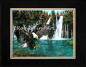 Matted-Bald-Eagle-and-Trout-Art-Print-034-Fly-Fishing-034-8-034-x10-034-Mat-by-Roby-Baer-PSA