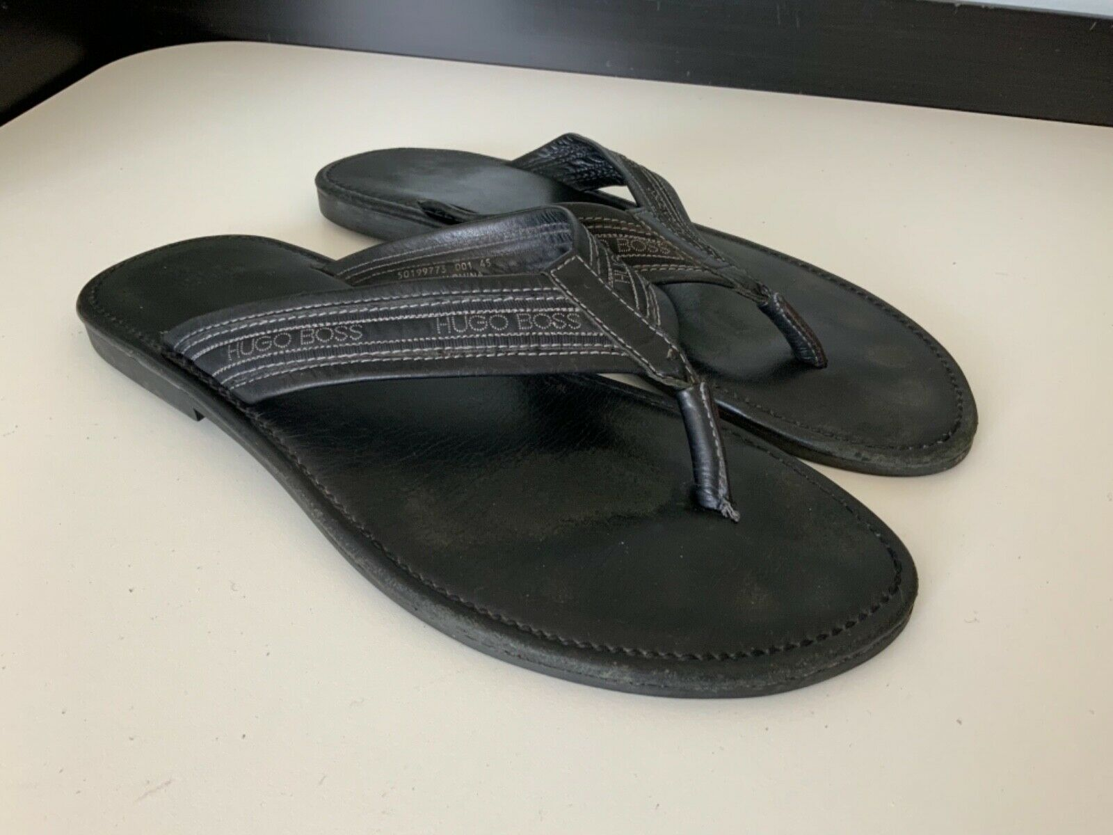Hugo Boss Mens Sandals, Flip Flops, Size Uk 11 Eu45, Black Leather, Vgc