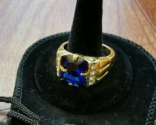 MEN'S SIZE 10 BLUE SAPPHIRE GEMSTONE 10K YELLOW GOLD FILLED RING