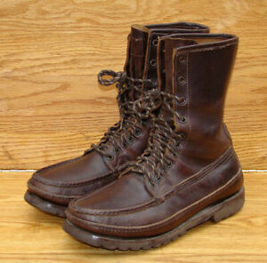 RUSSELL-MOCCASIN-Brown-Leather-Lace-Up-Hiking-Hunting-Boots-Men-039-s-9-D