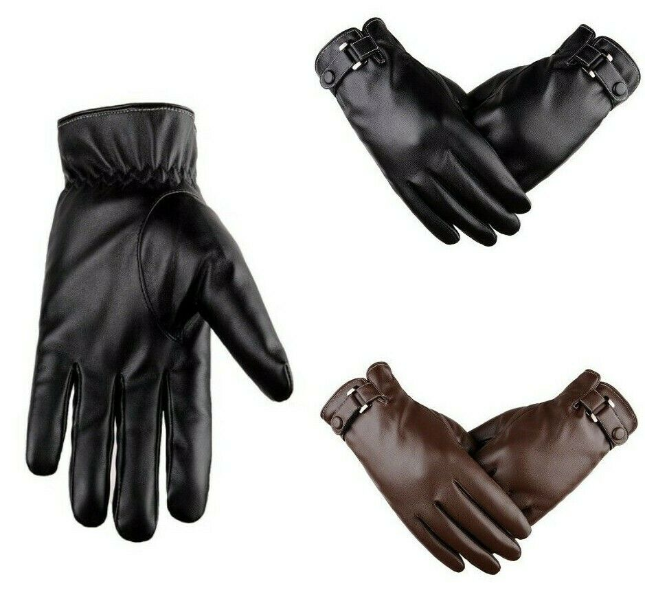 Black Chocolate Brown Spring Winter Men Gloves Leather Short Thin Thick Gloves