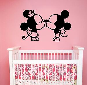 Image Is Loading Disney Wall Decal Kissing Mickey Minnie Mouse Vinyl