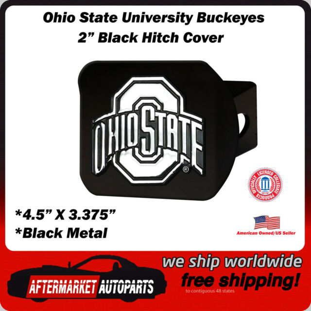 "The Ohio State University Buckeyes NCAA 2"" Black Metal Tow Hitch Receiver Cover"