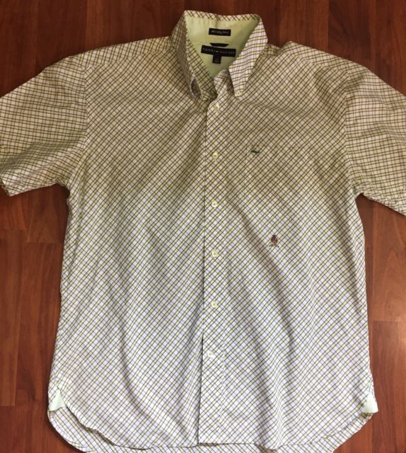 PURPLE PLAID TOMMY HILFIGER CUSTOM FIT SHORT SLEEVE BUTTON DOWN SHIRT NWT LG