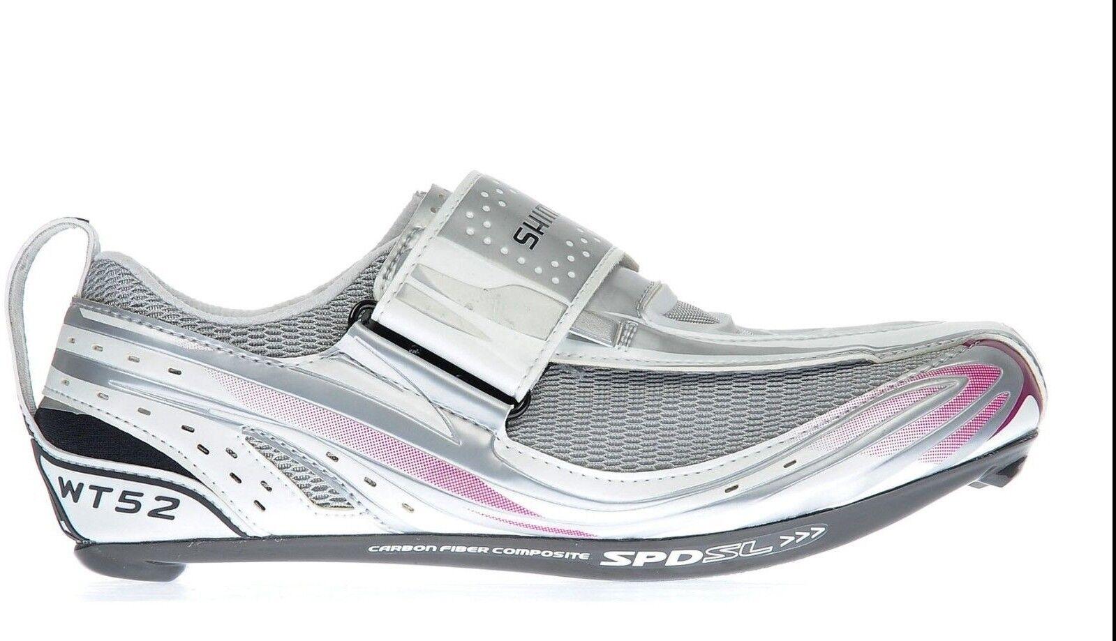 New Shimano SH-WT52 Women's SPD SL  Triathlon Carbon Cycling shoes White Purple  various sizes