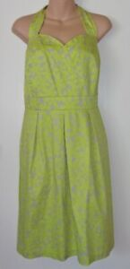 Lane-Bryant-Womens-Plus-Size-20-Green-Floral-Halter-Dress-Sweetheart-Neck