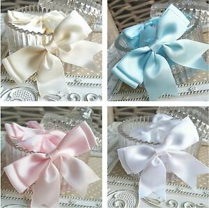 10 Satin Ribbon pre-tied Double bows Pink Blue White Ivory 80mm wide ... 3bbd2716a59