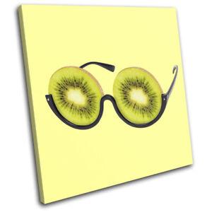 Kiwi-Glasses-Concept-Fruit-Food-Kitchen-SINGLE-CANVAS-WALL-ART-Picture-Print