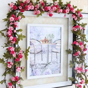Guirlande Rose Fleur Artificielle Vigne Chute Décor Mariage Couloir ...