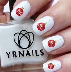 Nail Art Water Transfers Decals Merry Christmas Bauble C046 Ebay