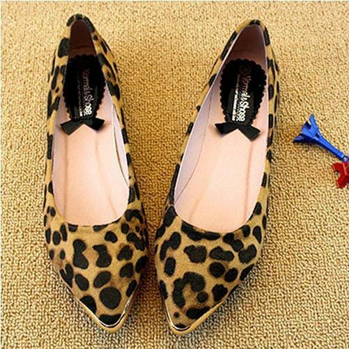 Fashion Sexy Leopard Metal Decorated Pointy toe Ballet Flats Shoes Pumps