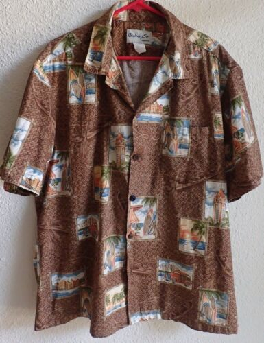 Mens brown Hawaiian shirt Bishop st apparel label surfboards diamond head woody wagon medium size