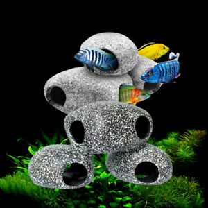Cichlid-Stone-Aquarium-Rock-Shrimp-Breeding-Cave-Hideaway-Fish-Tank-Decora-D-RC