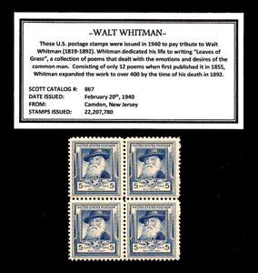 1940-WALT-WHITMAN-Block-of-Four-Vintage-U-S-Postage-Stamps