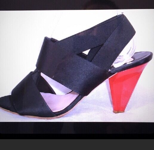 Chloe black satin and red heels size 39 1/2