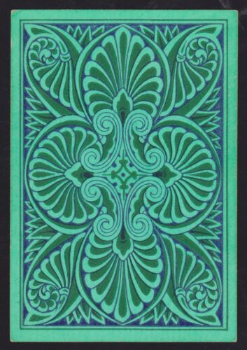 1 Single ANTIQUE Playing Card OLD WIDE SQUARE CORNER REVERSIBLE GREEN on BLUE