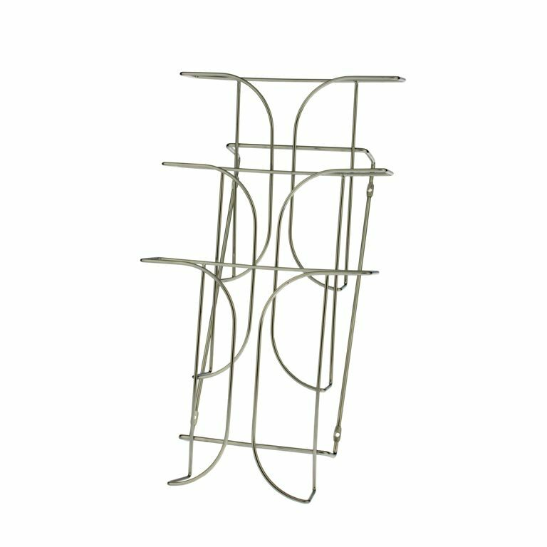 Lot of 6 Chrome Wire 3 Tier Brochure Holder Stand Wall Mount For 8.5  Literature