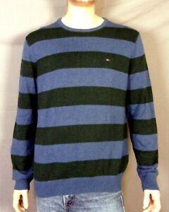 euc-Tommy-Hilfiger-Big-Stripe-LS-Crew-Sweater-Dark-Gray-Blue-Green-Flag-sz-L