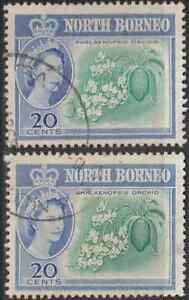 NORTH-BORNEO-1961-QE-II-20c-BLUE-GREEN-amp-ULTRAMARINE-USED-X2