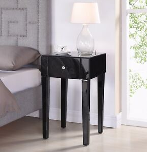 Mirrored bedside tables cabinets stylish new bedroom clear or black image is loading mirrored bedside tables cabinets stylish new bedroom clear watchthetrailerfo