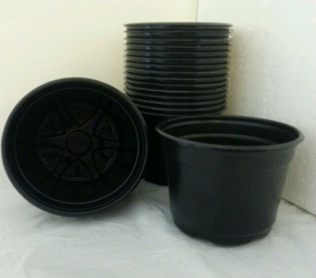 Set Of 440 5 Inch Round Black Plastic Nursery Pots Flower Plants Pot Landmark