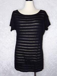 16f91d6fa6f Victoria's Secret Tunic Dress Shirt Medium Black Sheer Fabric Stripe ...