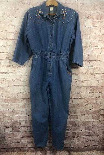Vintage 1980's Embellished Denim Blue Jean Jumpsui