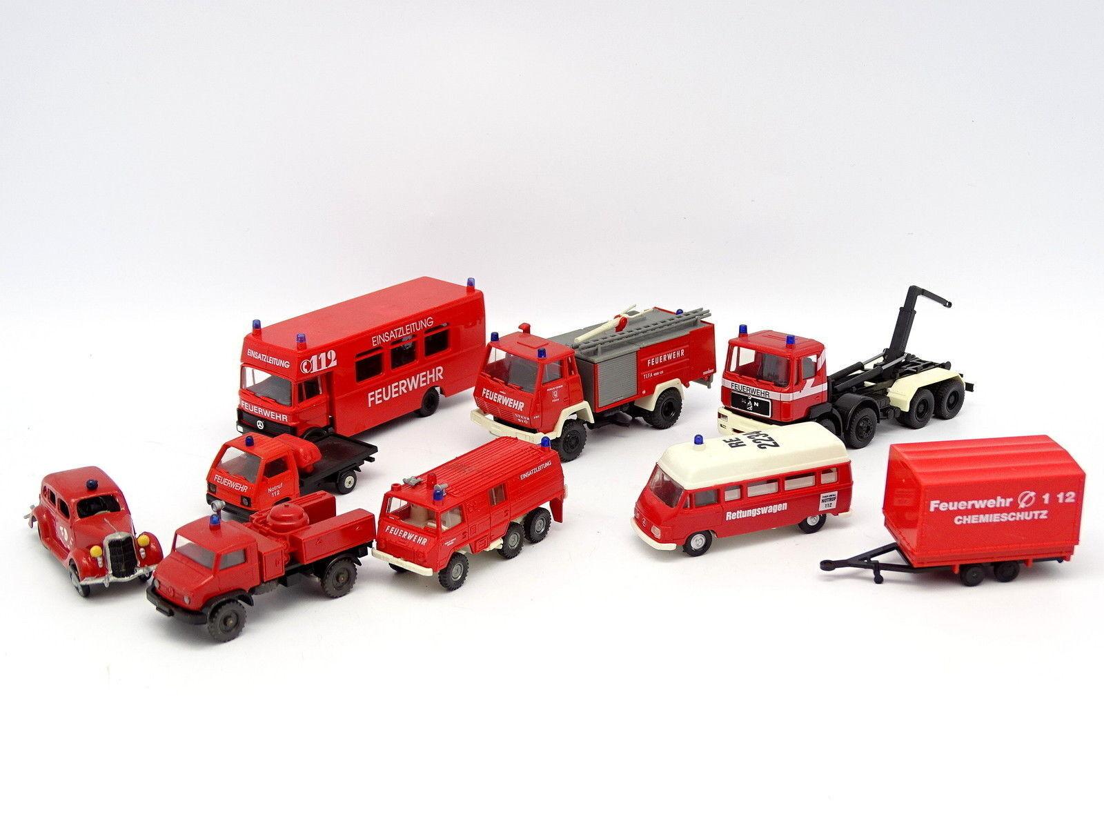 Vari 1 87 HO Lotto di 9 veicoli Vigili del fuoco Feuerwehr   MAN Mercedes Tatra