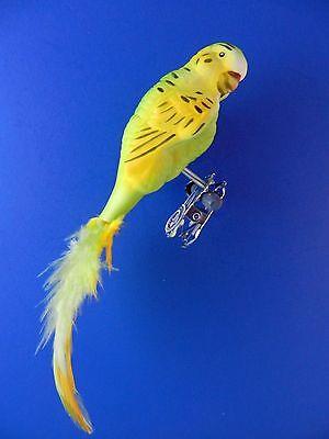 Parakeet Budgie Green Bird Feather Clip Glass Christmas Ornament Animal 027018