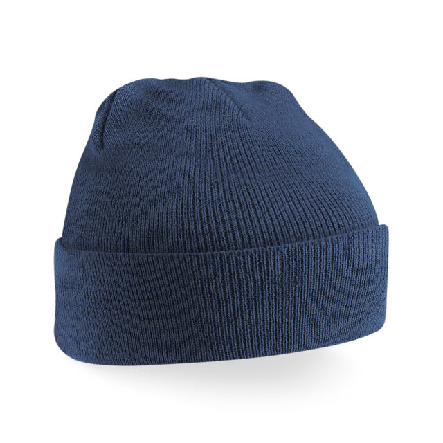 c4235bdfdb3 Beechfield Unisex Plain Peaked Winter Beanie Hat Cap Warm Utrw241 3 French  Navy