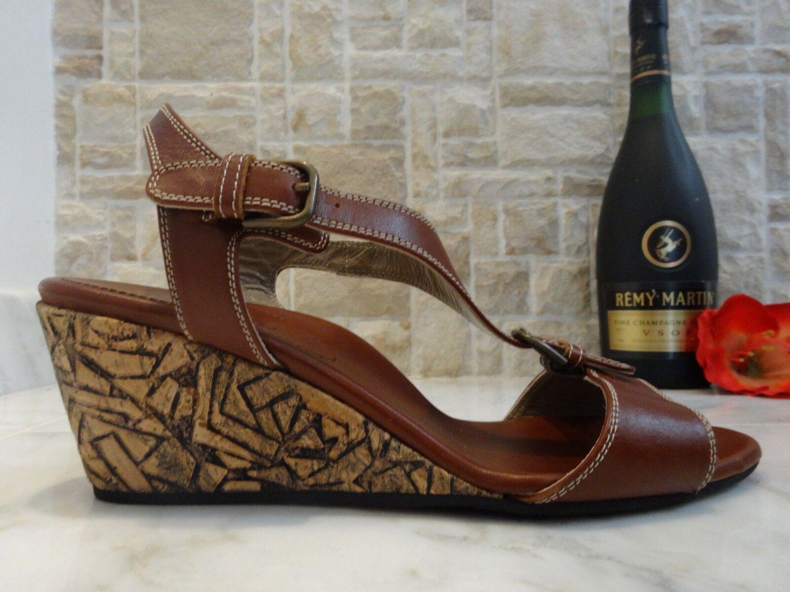 Anyi Lu 'Lola' marron Leather Wedge Sandals US-8.5M EUR-38.5M MSRP MSRP MSRP  395 bd2bbd