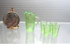 Dollhouse Miniature  Light Green Plastic Chrysnbon Pitcher & 4 Glasses