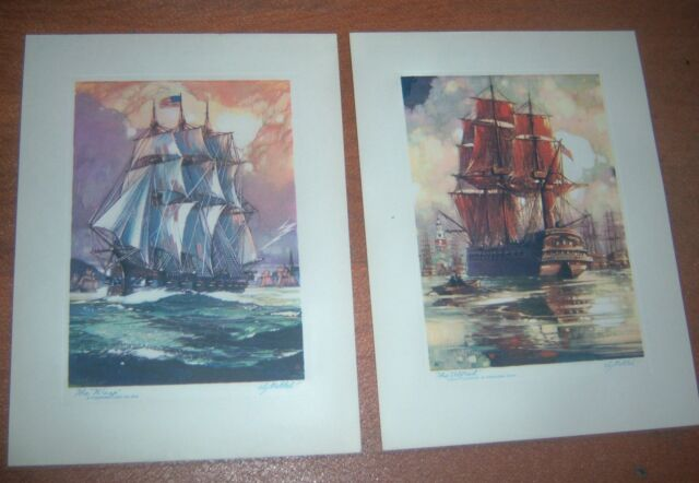 Lot of 2 Vintage Tall Sailing Ships Art Prints by Al Mettel The Alfred The Wasp