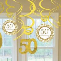 12x Swirl Goldene Hochzeit Jubliäum Zahl 50th Girlanden Hänge Decken Raum Deko