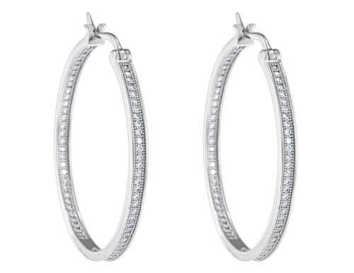 in Sterling Silver Crystal Hoop Earrings 7//10 Carat ctw