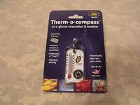 Compass: Therm-o-compass, Sun Company, Thermometer W/split Ring & Wind Chart