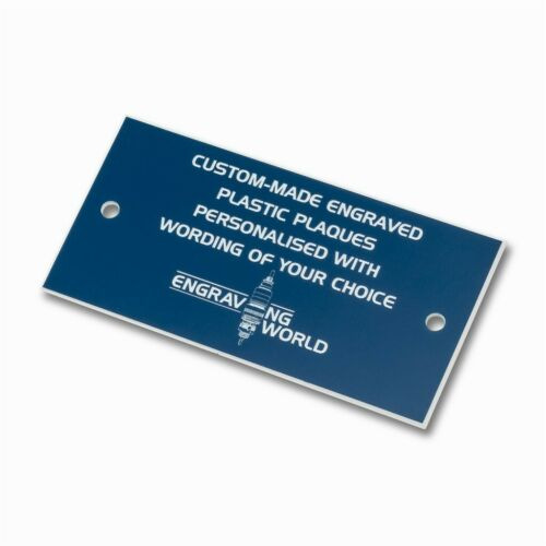 76mm x 26mm Blue White Personalised Engraved Exterior Plastic Plaque Sign