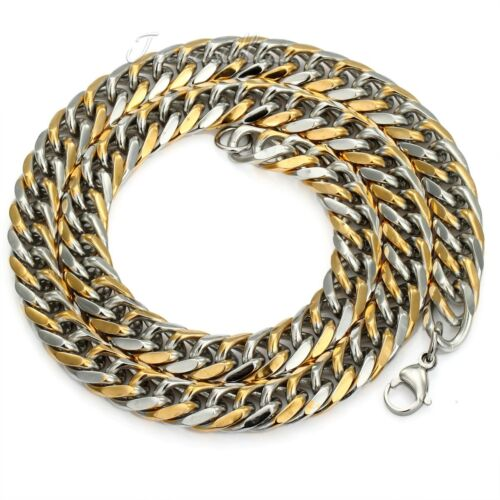 9//11//13mm MENS Chain Silver Gold Curb 316L Stainless Steel Necklace 18-36inch