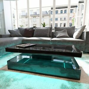 Details About Tiffany Black High Gloss Rectangular Coffee Table With Led Lighting Tiff008