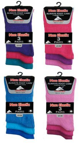 Ladies Womens Diabbetic Non Elastic Cotton Loose Top Casual Ankle Socks UK 4-6
