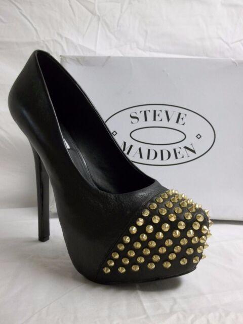 e0c1f95b6dd Steve Madden Size 9.5 M Bolddd Black Leather Platforms Pumps New Womens  Shoes