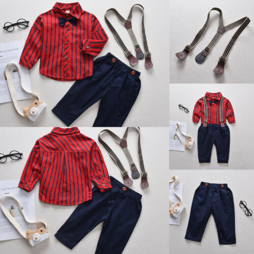 Kids Boys Long Sleeve Striped Shirt+Pants+Suspenders Gentleman 3Pcs Outfits Set