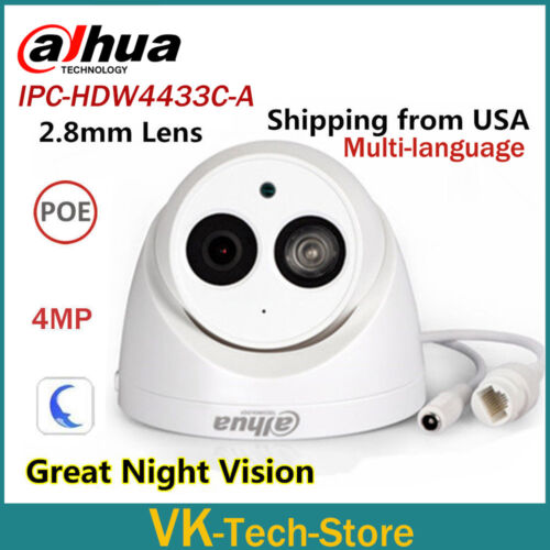 Dahua 4MP IPC-HDW4433C-A HD Dome Network IP Camera Built-in Mic 2.8mm USA Stock