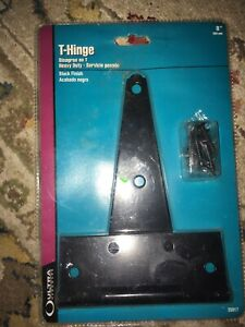 """Black 8/"""" Heavy Duty Tee T Hinges for Fence Gate Barn Shed Door"""